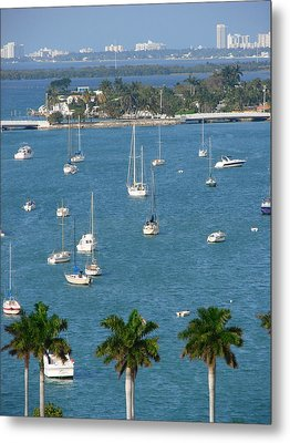 Overlooking A Miami Marina Metal Print by Margaret Bobb