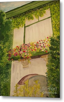 Metal Print featuring the painting Overlooking Butchard Gardens  by Vicki  Housel