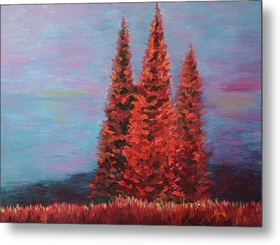 Metal Print featuring the painting Overlooking The Lake by Karin Eisermann