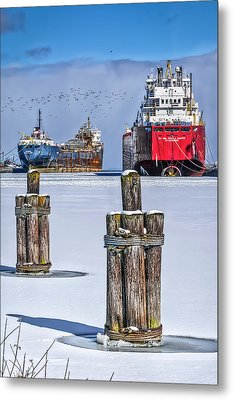 Owen Sound Winter Harbour Study #4 Metal Print by Irwin Seidman