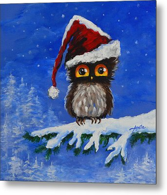 Owl Be Home For Christmas Metal Print
