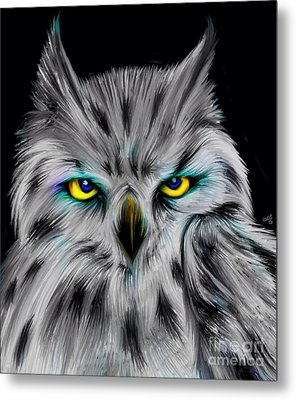 Metal Print featuring the drawing Owl Eyes  by Nick Gustafson