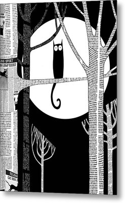 Owl Impression Metal Print