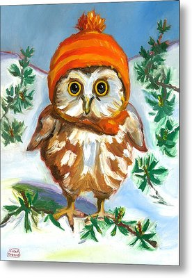 Owl In Orange Hat Metal Print by Susan Thomas
