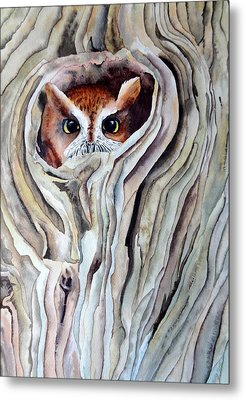 Metal Print featuring the painting Owl by Laurel Best