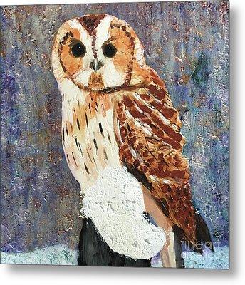 Owl On Snow Metal Print