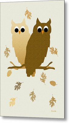 Owls Pattern Art Metal Print