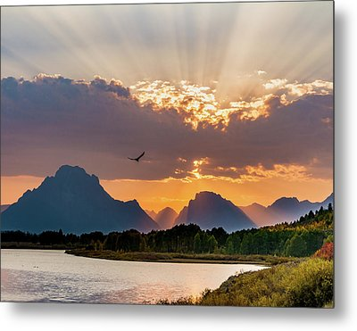 Oxbow At Sunset Metal Print by Mary Hone