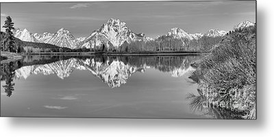 Oxbow Bend Panorama Black And White Metal Print by Adam Jewell