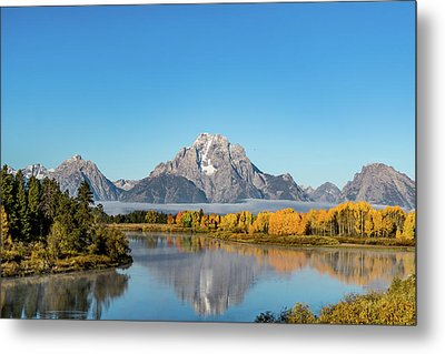 Oxbow Bend Reflecting Metal Print by Mary Hone
