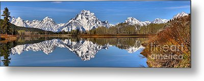 Oxbow Snake River Reflections Metal Print by Adam Jewell