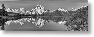 Oxbow Snake River Reflections Black And White Metal Print by Adam Jewell