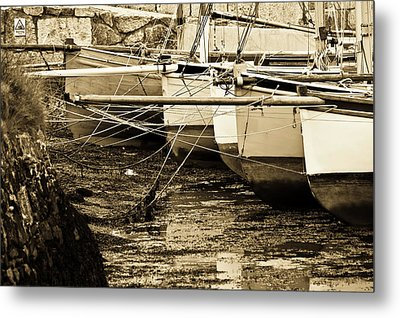 Oyster Boats Laid Up At Mylor Metal Print by Brian Roscorla
