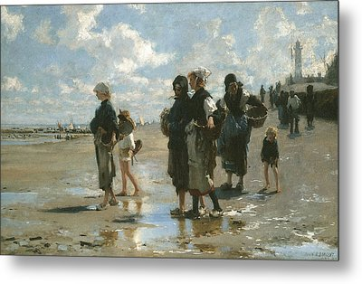 Oyster Gatherers At Cancale Metal Print by John Singer sargent