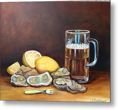 Metal Print featuring the painting Oysters And Beer by Susan Dehlinger