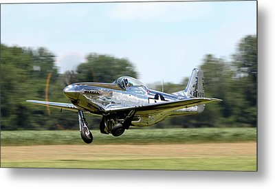 P-51 Takeoff Metal Print by Peter Chilelli