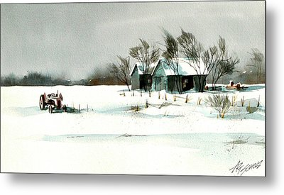 Winter's Farm Chill Metal Print by Art Scholz