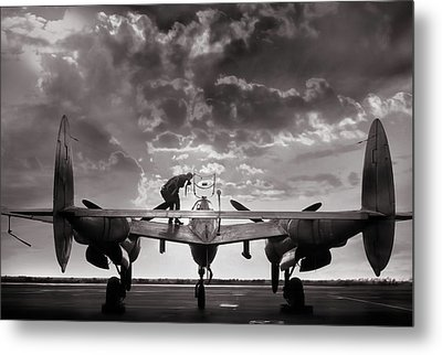 P38 Sunset Mission Metal Print by Peter Chilelli