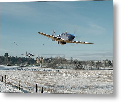 Metal Print featuring the digital art P51 Mustang - Bodney Blue Noses by Pat Speirs