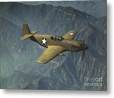 P51 Mustang In Flight Metal Print by Padre Art