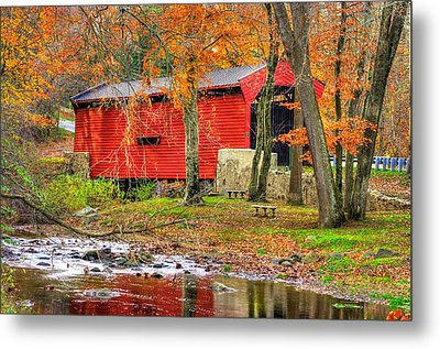 Pa Country Roads- Bartrams / Goshen Covered Bridge Over Crum Creek No.11 Chester / Delaware Counties Metal Print