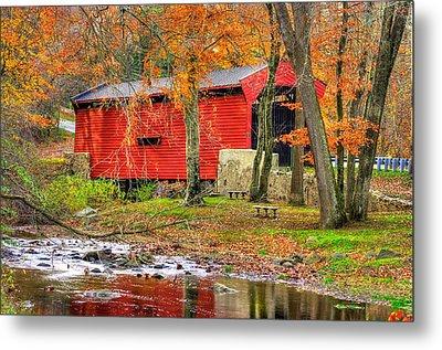 Pa Country Roads- Bartrams / Goshen Covered Bridge Over Crum Creek No.11 Chester / Delaware Counties Metal Print by Michael Mazaika