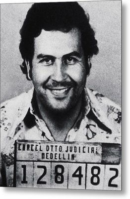 Pablo Escobar Mug Shot 1991 Vertical Metal Print by Tony Rubino