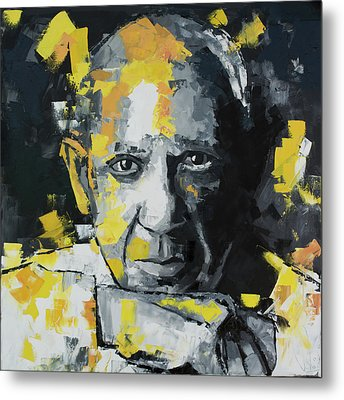 Metal Print featuring the painting Pablo Picasso Portrait by Richard Day