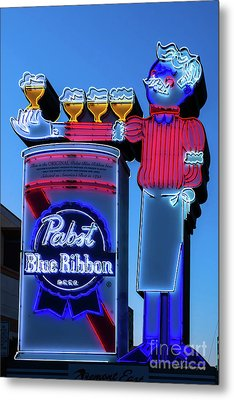 Pabst Blue Ribbon Neon Sign Fremont Street Metal Print by Aloha Art