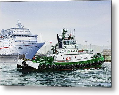 Metal Print featuring the painting Pacific Escort Cruise Ship Assist by James Williamson