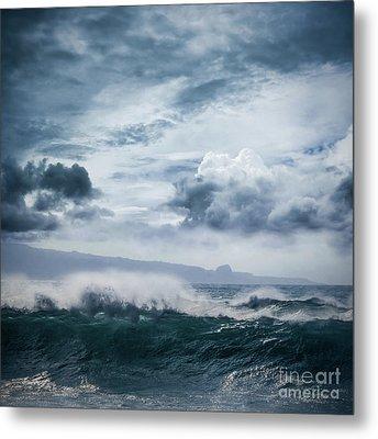 Metal Print featuring the photograph He Inoa Wehi No Hookipa  Pacific Ocean Stormy Sea by Sharon Mau