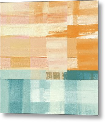 Pacific Sunset- Abstract Art By Linda Woods Metal Print