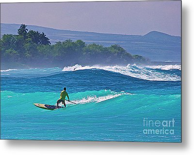 Paddleboarder Rides The Outside Break Metal Print