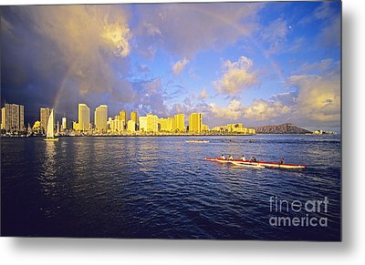 Paddling Beneath Rainbow Metal Print by Carl Shaneff - Printscapes