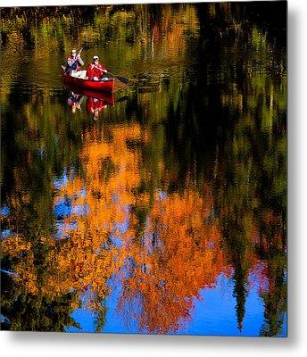 Paddling The Moose River In Autumn Metal Print