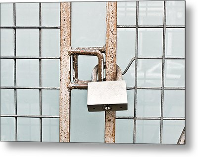 Padlocked Gate Metal Print by Tom Gowanlock