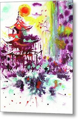 Metal Print featuring the painting Pagoda by Zaira Dzhaubaeva