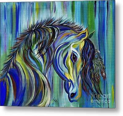 Metal Print featuring the painting Paint Native American Horse by Janice Rae Pariza