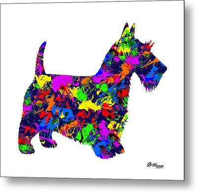 Paint Splatter Scottish Terrier Metal Print