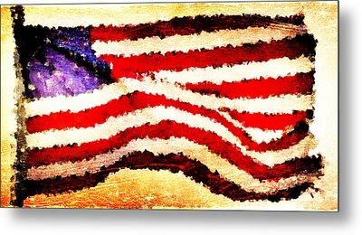 Painted American Flag Metal Print by Andrea Barbieri