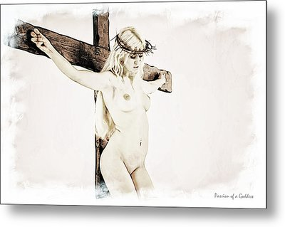 Painted Female Crucifix X Metal Print by Ramon Martinez
