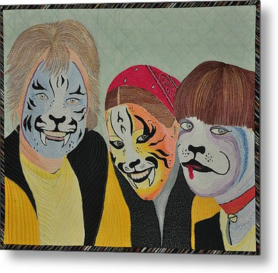 Metal Print featuring the tapestry - textile Painted Ladies by Jo Baner