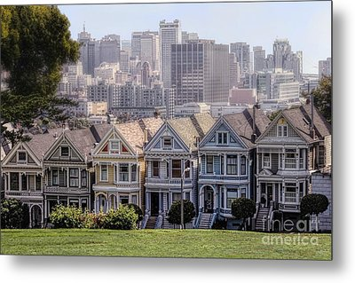 Painted Ladies Of Alamo Square Metal Print by Mary Lou Chmura