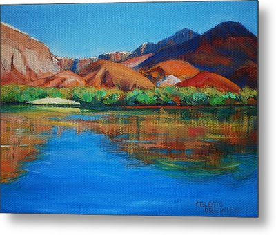 Marble Canyon Painted Metal Print by Celeste Drewien