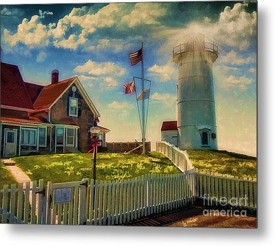 Painted Nobska Lighthouse On Cape Cod Metal Print by Gina Cormier