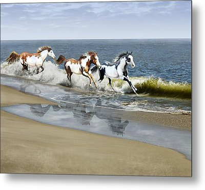 Painted Ocean Metal Print by Barbara Hymer