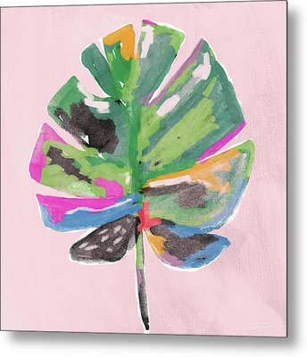 Metal Print featuring the mixed media Painted Palm Leaf 2- Art By Linda Woods by Linda Woods