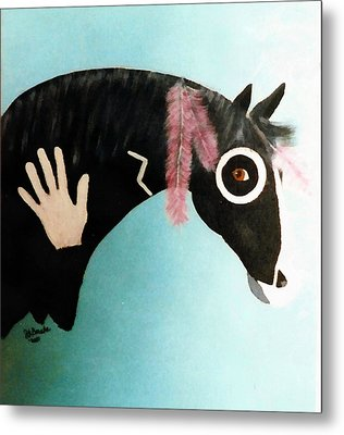 Painted Pony With Feather Metal Print by Joseph Frank Baraba