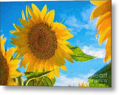 Painted Sunflower Metal Print