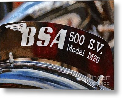 Painting Of A 1940 Bsa M20 Metal Print